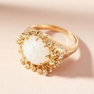 Anthropologie Gold Sparkly Sunshine Ring